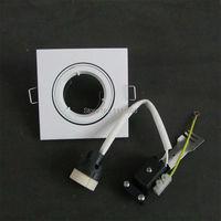 Ceiling Light Square Embed Fixture GU10 Mr16 Lampholder Fitting Frame White Downlight Kit Lamp Bases