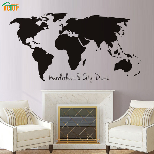 DCTOP Wanderlust And City Dust World Map Wall Sticker For Living Room  Bedroom Home Decor Removable