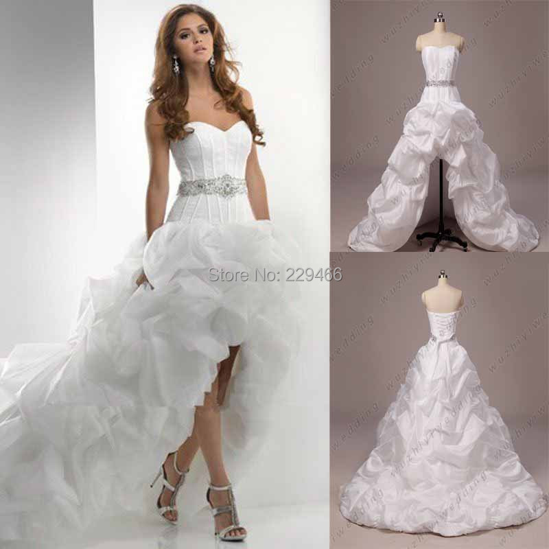 High Low Sweetheart Beaded Belt Organza Wedding Dress Plus Size ...