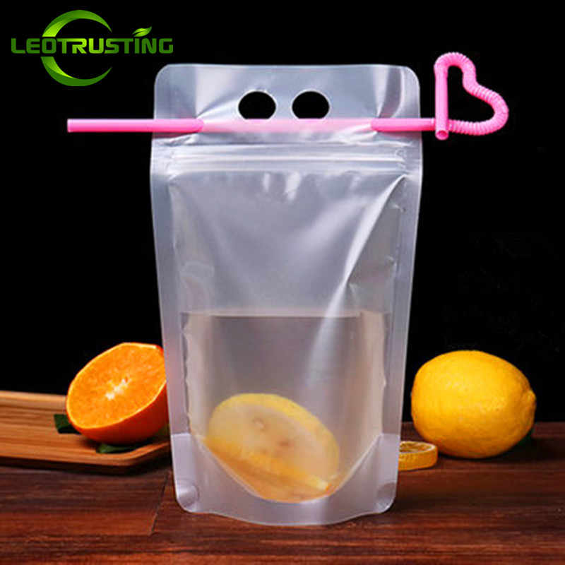 Leotrusting 100pcs 250ml/350ml/400ml/500ml Frosted Plastic Drinking Beverage Bag Juice Milk Coffee Bag with Handle Holes Straws