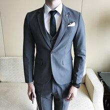 ( Jacket + Vests + Pants ) 2018 New Men's Gentleman England Solid Color Three-piece Business Wedding Dress Suits Men Formal Suit