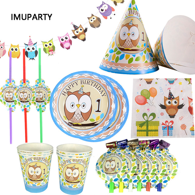 Cute Cartoon Owl Disposable Tableware Banner Caps Plate Cup Kids Baby Boy 1st Birthday Party Decoration Supplies For 6 Person