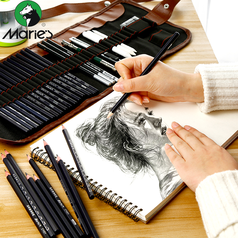 Sketch pencil set beginner sketch pen set student with 2b hb painting painting painting tool brush set art supplies