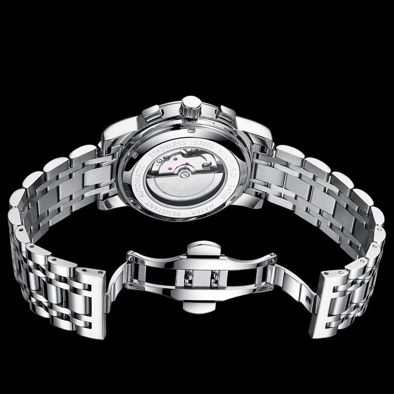 Kinyued relógios mecânicos de aço inoxidável masculino