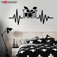 Drum Kit For Drummer Musician Music Lover Wall Stickers Vinyl Home Decor Room Decals Interior Murals Removable Wallpaper 3543