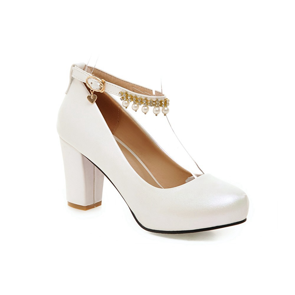 2017 Chunky High Heeled Pink Bridal Wedding Shoes Beaded White Female Buckle Elegant Pumps Silver Gold19