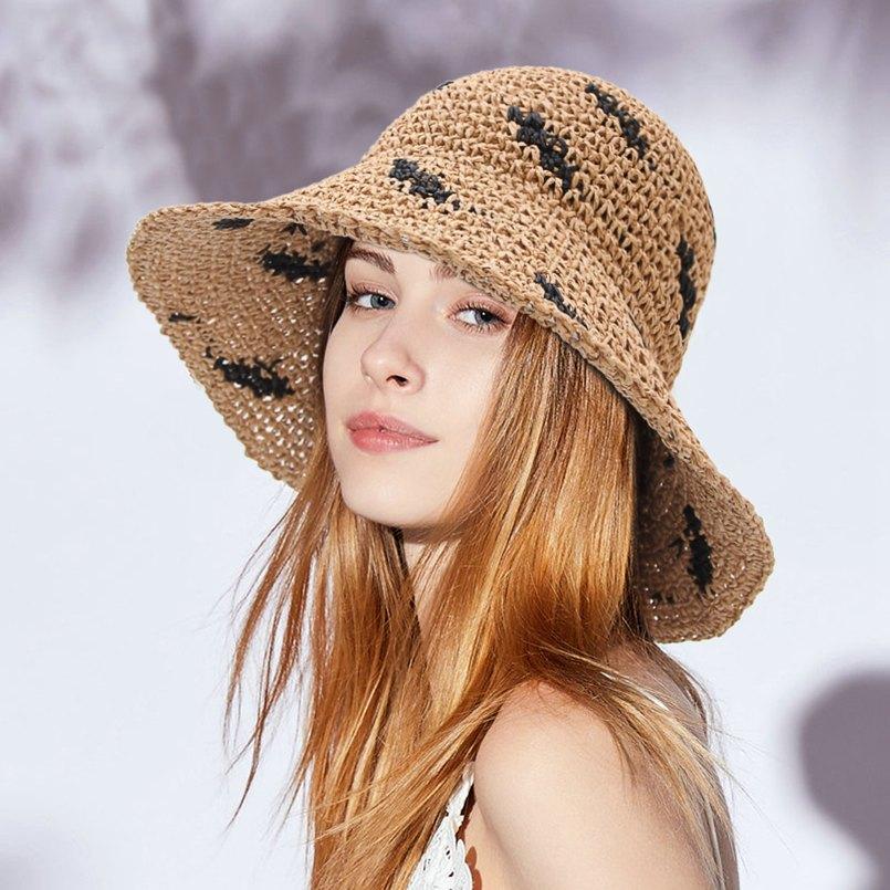 Straw Hat Sunscreen Hat Girls Children Summer Wide Brim Hollow Out Weave Caps