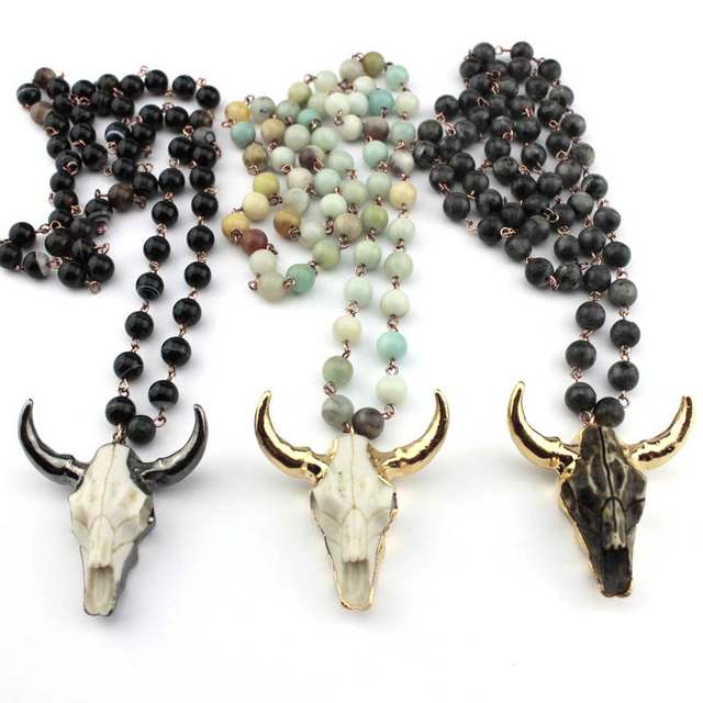 Natural Amazonite Stones Statement Necklaces Bohemian Tribal Skull Jewelry Long Chain Horn Pendant Necklace 2018 Spring Fashion
