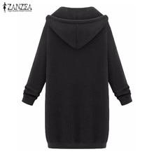 2018 Autumn Winter ZANZEA Women Hoodies Sweatshirt Casual Loose Long Coat Pockets Zip Up Outerwear Hooded Jacket Tops Plus Size