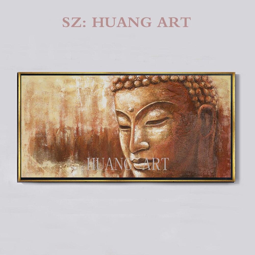 Art mural de luxe artiste pur peint à la main de haute qualité Figure de bouddha peinture à l'huile sur toile Art mural tête de bouddha peinture à l'huile