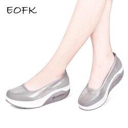 EOFK Women Flat Platform Shoes Woman Loafers Fashion Women's Slip On Shallow Swing Casual Shoes Women Flats zapatos de mujer