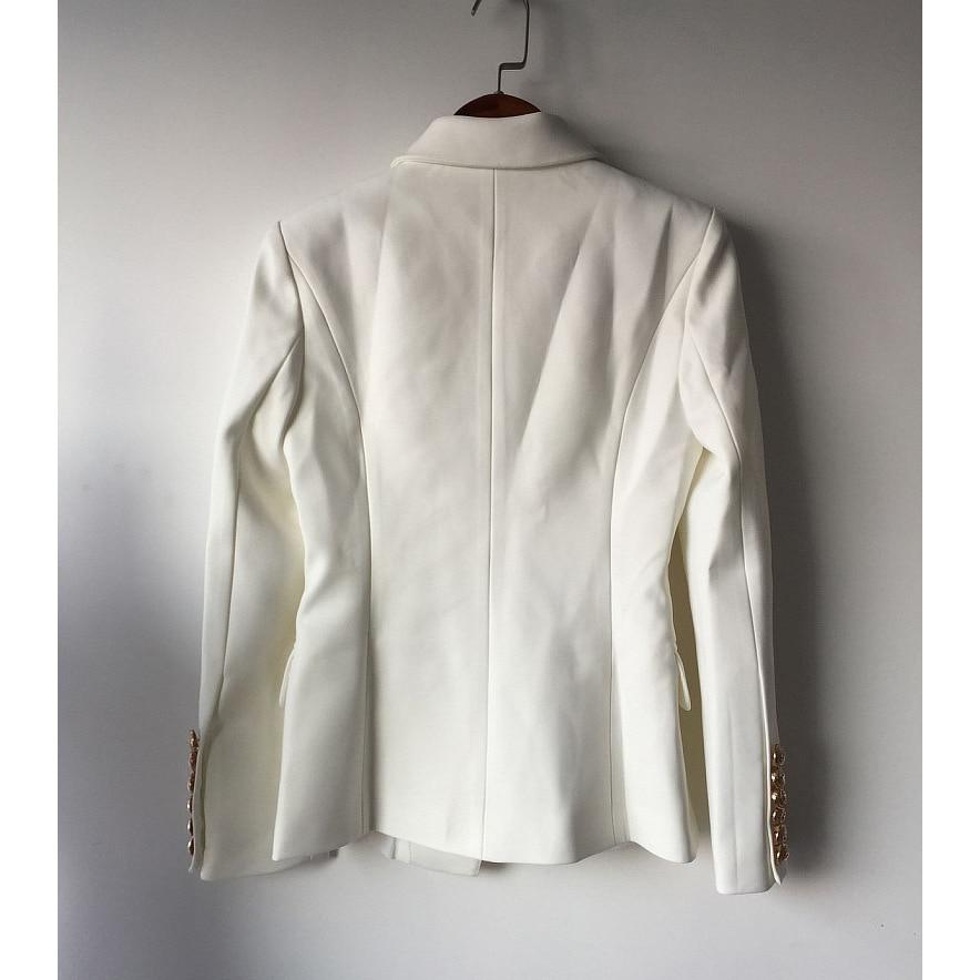 Manteau Femme Veste blanc Travail Femmes bleu Métal xxxl Blanc Double Qualité En À Boutonnage Designer Lion Supérieure S Vêtements Printemps Costume Noir Blazer De Noir tXWHxqwCtS