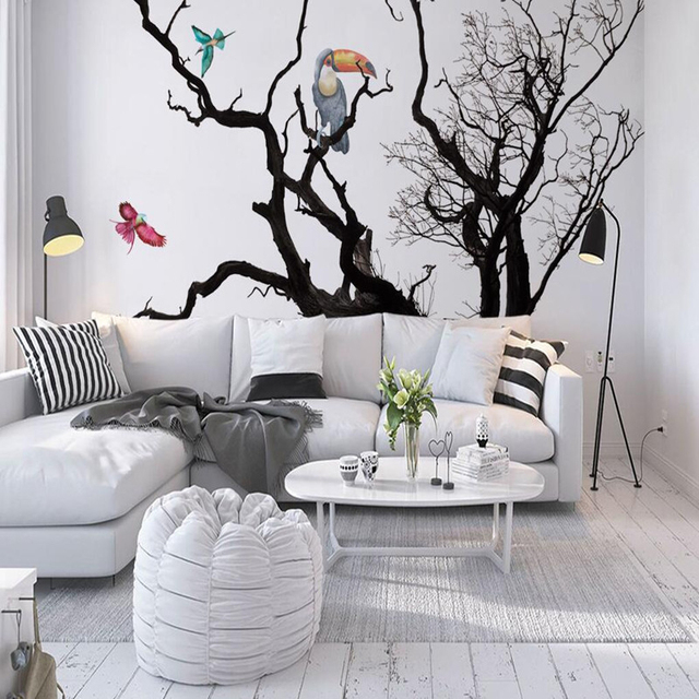Custom European Photo Wall Murals Wallpaper Animals Bird Black White