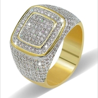 Top Quality Hip Hop Ring All Iced Out High Quality Micro Pave CZ Rings Women & Men Gold Ring For Love, Gift Wholesale Best Sell