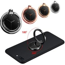 360 Degree Clock Mobile Phone Finger Ring Stent Universal Cell Phone Holder Finger Ring Holder Metal With Clock For Magnetic(China)