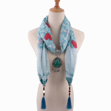 women pendant jewelry viscose scarfs mujer shawl necklace accessory tassel love anchor print dendant scarf shawls