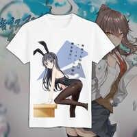 Anime Seishun Buta Yarou wa Coelhinha Senpai no Yume wo Minai t-shirt cosplay Mai Sakurajima camisetas Tees Tops