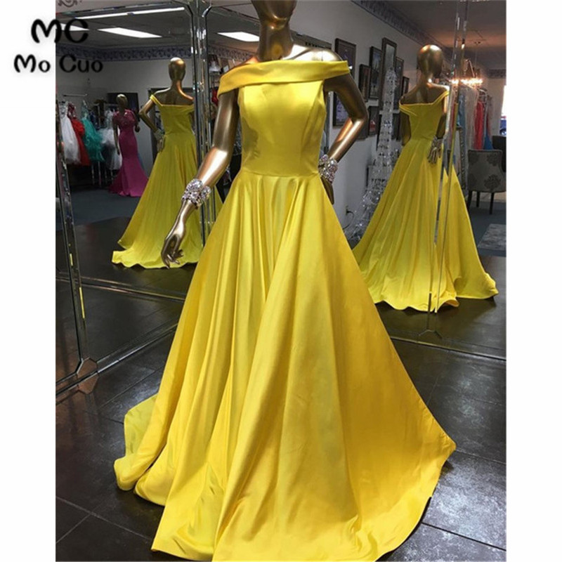 2019 In Stock Yellow Evening Dress For Teens With Pockets Vestidos De Fiesta Satin Off Shoulder Evening Prom Party Dress