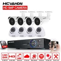 HCVAHDN 5.0MP Security Camera System 5MP CCTV Surveillance Kit 8CH DVR 1944P Video Output Kit CCTV Easy Remote View on Phone
