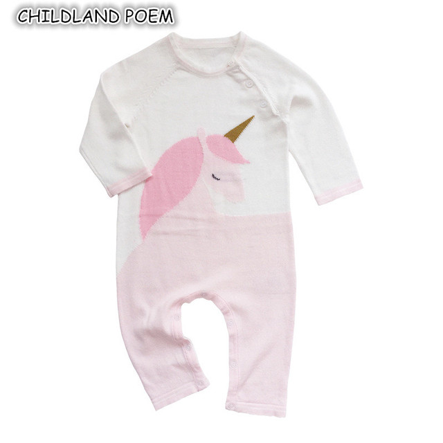 dd1e86e49 Baby Knitted Rompers Spring Unicorn Baby Clothes Long Sleeve Cartoon ...