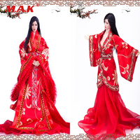 1 6 Scale Han Dynasty Female Clothes Chinese Red Ancient Wedding Dress For 12 Inches Action