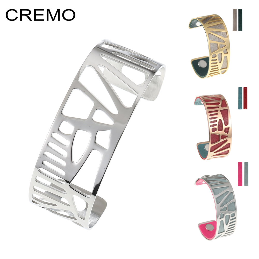Cremo Woodpecker Bangles For Women Stainless Steel Bracelet DIY Manchette Femme Argent Reversible Leather Bijoux Bracelet cremo labyrinth bangles stainless steel bracelets femme bijoux manchette reversible 40mm wide maze leather bangle pulseiras