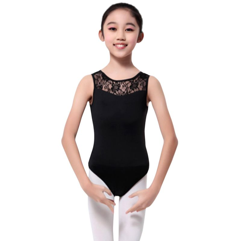 Hot Cotton Lycra Lace Black Tank Dance Leotard With Open Back Girls Ballet Dancewear Ladies Costume Bodysuit Dress Ship From US new girls ballet costumes sleeveless leotards dance dress ballet tutu gymnastics leotard acrobatics dancewear dress