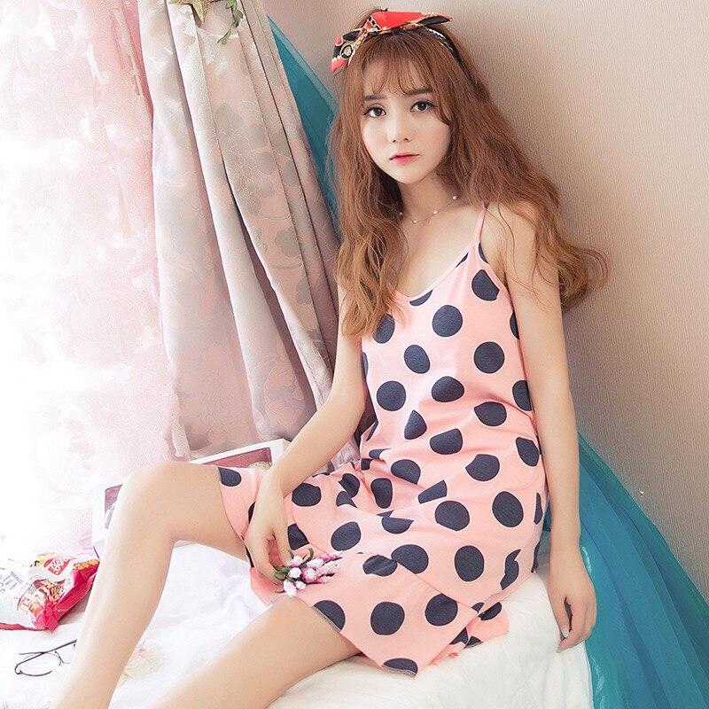 Comfortable Cotton Summer Night Dress Sleeveless Cartoon Print Polka Dot Nightgowns Female Sleepwear Sleepshirt Girls Nightshirt