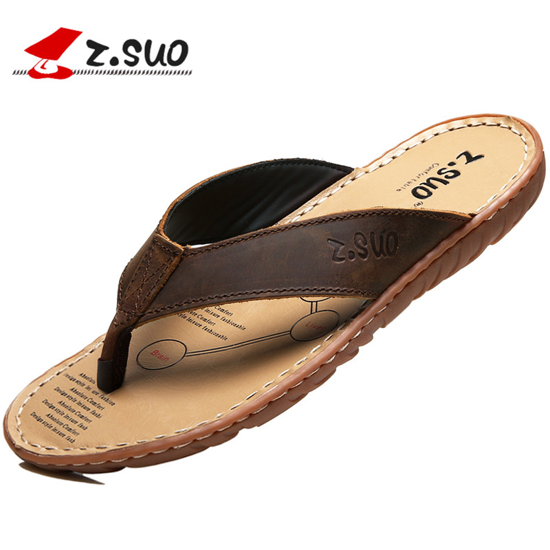 ZSUO Brand 2019 Summer Men Flip Flops Genuine Leather Slippers Shoes Outdoor Slippers Beach Shoes Men Sandals Big Size 38-47