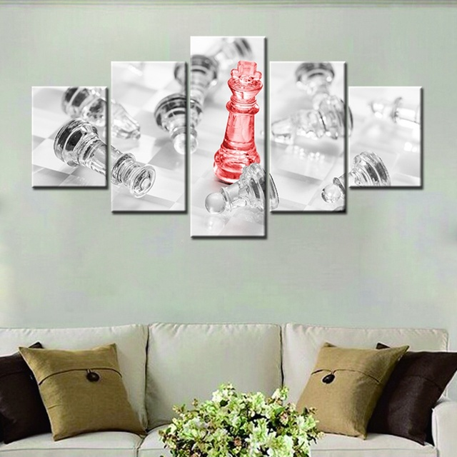 Crystal chess canvas painting wall art home decor 5 panels high quality hd print modular artwork