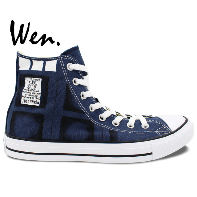 eb9616a34d7b4 Wen Hand Painted Shoes Custom Design Casual Shoes DW Bad Wolf Blue High Top  Men Women's