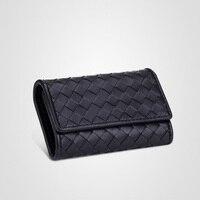 New woven key wallet genuine leather bag sheepskin key wallet