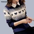 2016 YHGGG Dongkuan Корейской версии Сладкий Колледж Ветер Воротник Рубашки Поддельные Кусок Свитер Дна Рубашки Женщины Прилив