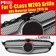 W205 Grille Mesh ABS Material Silver AEAMG Style Grill Fit For Sport W205 C180 C200 C250 C300 C350 Front Grill With Camera 2015+ цены