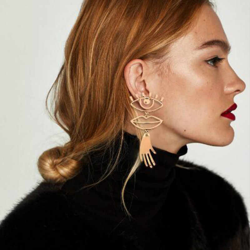 Punk Vintage Abstract Art High Polished Metal Hollow Golden Danlge Drop Earrings Costume Jewelry Eyes and Lips Pierced Earrings