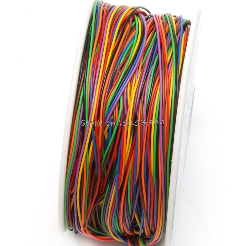 One Roll 8 Colors 30AWG Wire Wrapping Wire Tinned Copper Solid PVC insulation Drop Ship цена