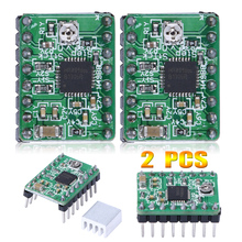 2Pcs/Lot A4988 Stepper Motor Driver Module with Radiator for 3D Printer Polulu StepStick RepRap for 3D Printer kit Green