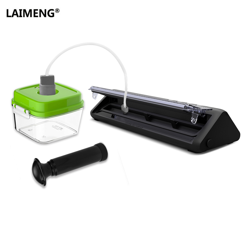 цена LAIMENG Vacuum Sealer Machine Packer With Food Grade Vacuum Container and Vacuum Bags For Packing Food Package Machine S194