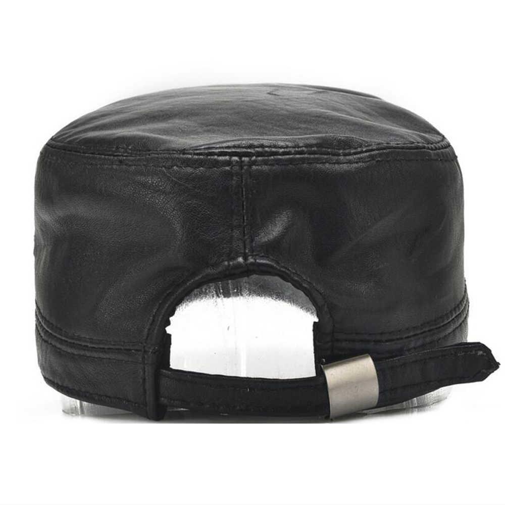 新しい男性本物の羊の革野球帽ブランド品質本革フラットトップキャップ秋冬メンズ本物の羊革帽子