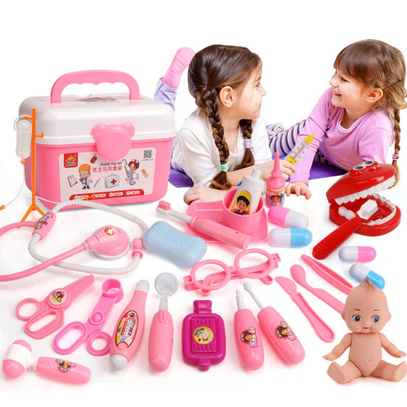 9f3251ded 39/21PCS Kids Play Doctor Game Toys Set Children Cosplay Doctors Vocal  Light Stethoscope Toy