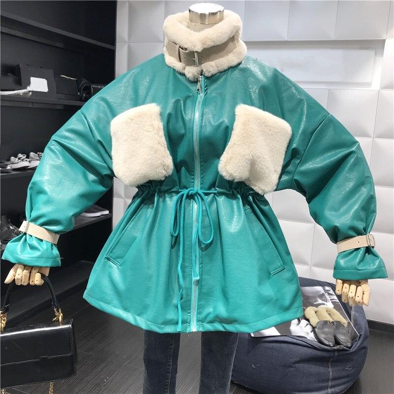 Streetwear Couleurs 2018 Femmes D'hiver vert Beige Pu Fourrure Faux Manteau Élégant Automne jaune Mode Poches noir Taille Cordon Contraste rouge Hiver ZOWfW4nr