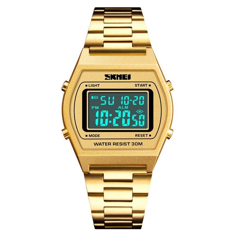 SKMEI Fashion Outdoor Sport Luxury Digital Watch StopWatch Alloy Strap Business 12/24 Ho ...