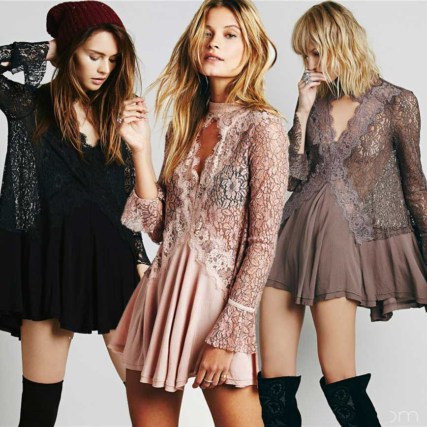 BOHO INSPIRED Lace Dress Women Long Sleeve V Neck Trim Sexy Bohemian Autumn Party Dresses Hippie Chic Vestido Clothing 2017 In From Womens