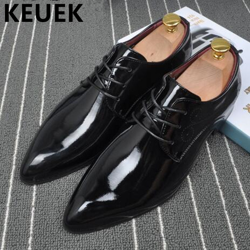 British style Men Dress shoes Genuine leather Flats Pointed toe Casual Fashion Brogue Shoes Spring/Autumn Male Oxfords shoes 1.9 pointed toe tassel leather shoes men slip on brogue shoes flats british style rivet shoes casual loafers chaussure homme 022