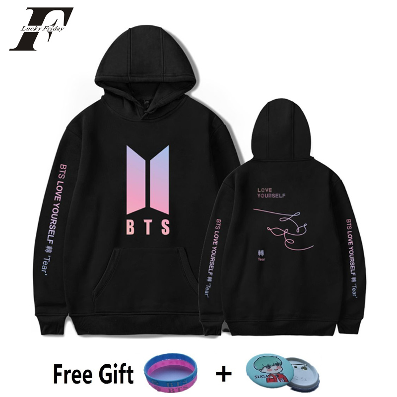 luckyfridayf 2018 bts New Album BTS LOVE YOURSELF Tear cotton oversized Hoodies Sweatshirts women men Pullover Hip Hop moletom