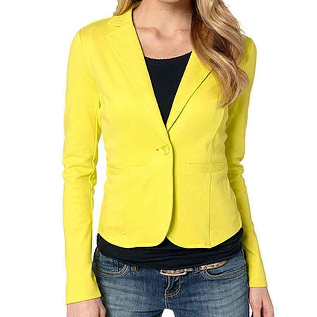 Womens Blazers Spring Autumn 2017 New Casual Business Blazer Feminino One Button Slim Blazer Women Jaclets 5 Colors Suit Women