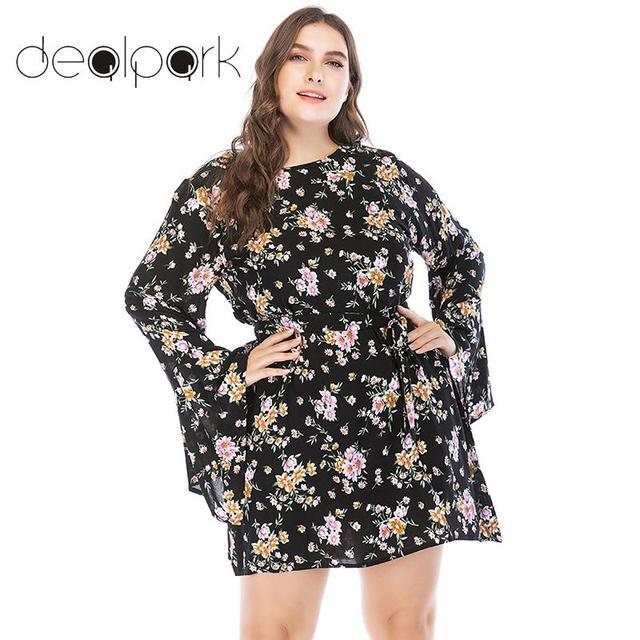 0bcb553650c Women Plus Size Bohemian Floral Dress Tie Waist Flare Sleeve O Neck Casual  Beach Mini Summer