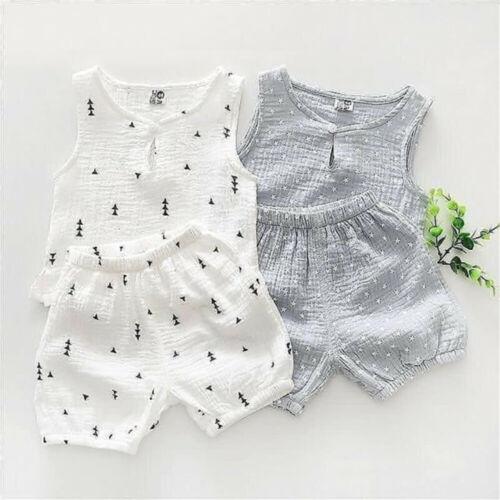 0-24M 2Pcs Newborn Cotton Linen Baby Boy Clothes Sleeveless Top T-Shirt Short Summer Casual Toddler Boy Outfits
