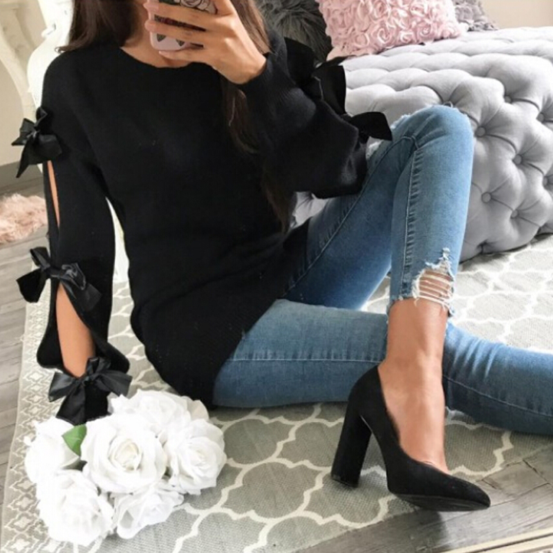 Knitted Women's Sweater Women Bowknot Hollow Out Thin Long Sleeve Pullover Pull Femme Ribbed Casual Jumper Winter Clothes 2019