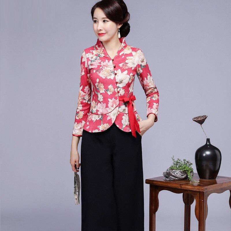 Vintage femmes amélioration fleur Tang vêtements Sexy Slim à manches longues chemise automne imprimé Blouse Style chinois vêtements grande taille 4XL - 4